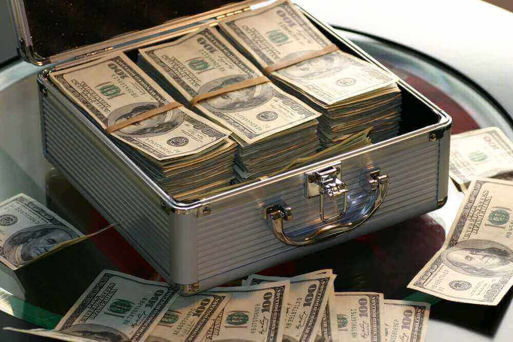 Case with 100 US dollar bills   Guide My Growth