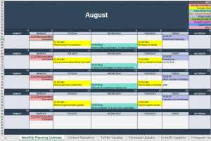 Example of a social media calendar | Guide My Growth